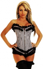 Sexy Over Bust Black Stripe Corset