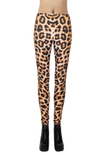 Orange Pretty Womens Leopard Printed Animal Print Leggings