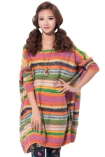 Orange Womens Colorful Stripe Printed Oversized Jumper Sweater