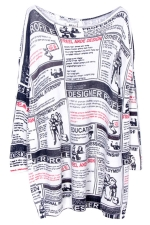 White Retro Ladies Newspaper Pattern Pullover Fashion Sweater