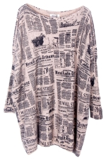 Beige Loose Womens Modest Paper Pattern Jumper Sweater