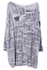 Gray Loose Womens Modest Paper Pattern Jumper Sweater