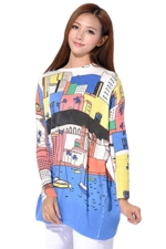 White Womens Cute Cartoon Boat Pattern Jumper Sweater