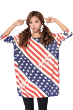 Crew Neck Star Flag Pattern Long Sleeve Oversized Jumper Sweater