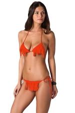 Orange Fringe Bikini Top & Sexy Double String Swimsuit Bottom