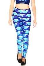 Turquoise Womens Cute Whale Printed Leggings