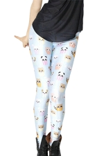 Blue Cute Cartoon Ladies Animal Cupcake Printed Leggings