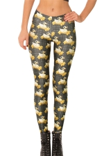 Black Ladies Cartoon Duckling Printed Fashion Leggings
