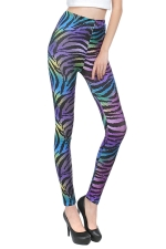 Purple Womens Sexy Zebra Stripe Fashion Leggings