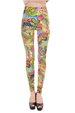Yellow Womens Fashion Cute Floral Leggings