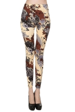 Khaki Womens Sexy Classic Roses Floral Leggings