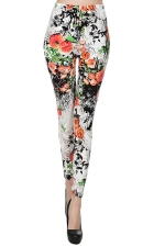 Red Womens Sexy Classic Roses Floral Leggings