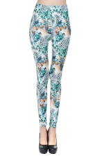 Blue Fancy Ladies Cute Floral Fashion Leggings