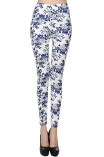 Blue Womens Chic Slimming Floral Printed Leggings