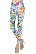 Turquoise Womens Cute Slim Sexy Floral Leggings