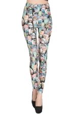 Blue Cute Womens Owls Printed Colorful Leggings