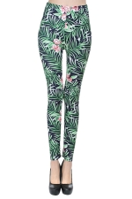 Green Ladies Cool Floral Casual Slimming Leggings