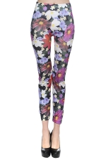 Rose Red Fancy Flowers Printed Ladies Cute Leggings