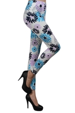 Blue Cute Ladies Flowers Printed Trendy Leggings