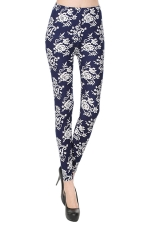Navy Blue Vintage Floral Printed Womens Sexy Leggings