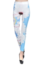 Blue Unique Ladies Fashion Flowers Printed Cool Leggings