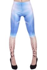 Sexy Flowered Printed Fit Pants Leggings Blue