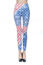 Blue Ladies American Flag Printed Seamless Leggings