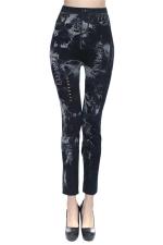 Black Ladies Hollow Out Tie-dyed Leggings