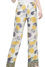 White Ladies High Waist Floral Printed Palazzo Leggings