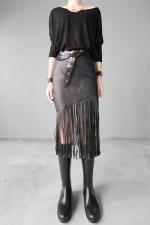Black Ladies High Waisted Tassel Leather Skirts