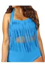 Womens Plus Size Sexy Fringe Top&High Waist Bottom Bathing Suit Blue