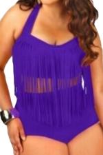 Womens Plus Size Sexy Fringe Top&High Waist Bottom Bathing Suit Purple
