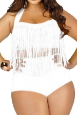 Womens Plus Size Sexy Fringe Top&High Waist Bottom Bathing Suit White