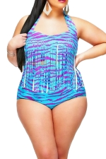 Womens Plus Size Fringe Printed Bikini Top&Sexy Swimwear Bottom Blue