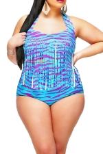 Womens Plus Size Fringe Printed Bikini Top&Sexy Swimwear Bottom Blue