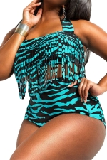 Womens Plus Size Fringe Printed Top&Sexy Bottom Bikini Set Turquoise