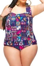 Womens Plus Size Fringe Printed Top&Sexy Bottom Bikini Set Navy Blue