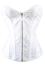 White Jewel Zipper Chic Fashion Ladies Over Bust Corset