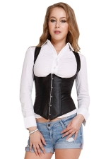 Black Steel Bone Back Cross Lace Straps Sexy Ladies Corset