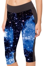 Blue Galaxy Printed Slimming Womens Cropped Leggings