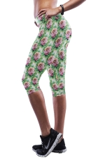 Green Floral Printed Sexy Chic Womens Cropped Leggings