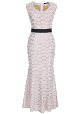 Pink Ladies Sexy Lace Jacquard Sleeveless Evening Dress
