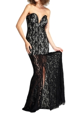 Black Lace Slit Sexy Charming Ladies Tube Evening Dress