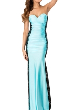 Blue Lace Patchwork Sheer Off Shoulder Sexy Ladies Evening Dress
