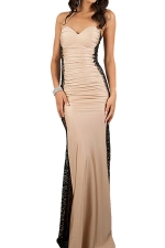 Khaki Lace Patchwork Sheer Off Shoulder Sexy Ladies Evening Dress