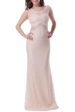 Khaki Mesh Patchwork Sleeveless Backless Sexy Ladies Evening Dress