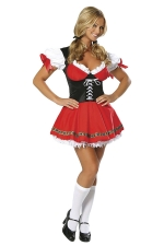 Red Adult Sweet Cute Halloween Maid Costume