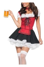 Red Adult Cute Beer Maid Halloween Costume