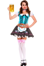 Blue Ladies Sexy Beer Maid Costume With Neck Ornament