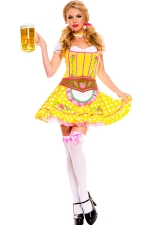 Yellow Ladies Sexy Beer Maid Costume With Neck Ornament